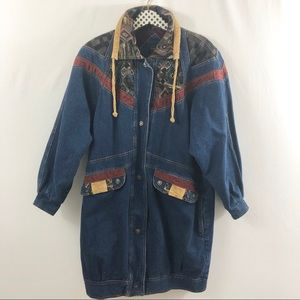 Vintage patch trench jean denim zip jacket Sz S